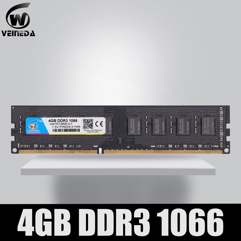Pamięć ram VEINEDA DDR3 4gb 1066Mhz ddr 3 4gb PC3-8500 pamięć 240pin kompatybilny 1333 1600 dla AMD Intel Desktop