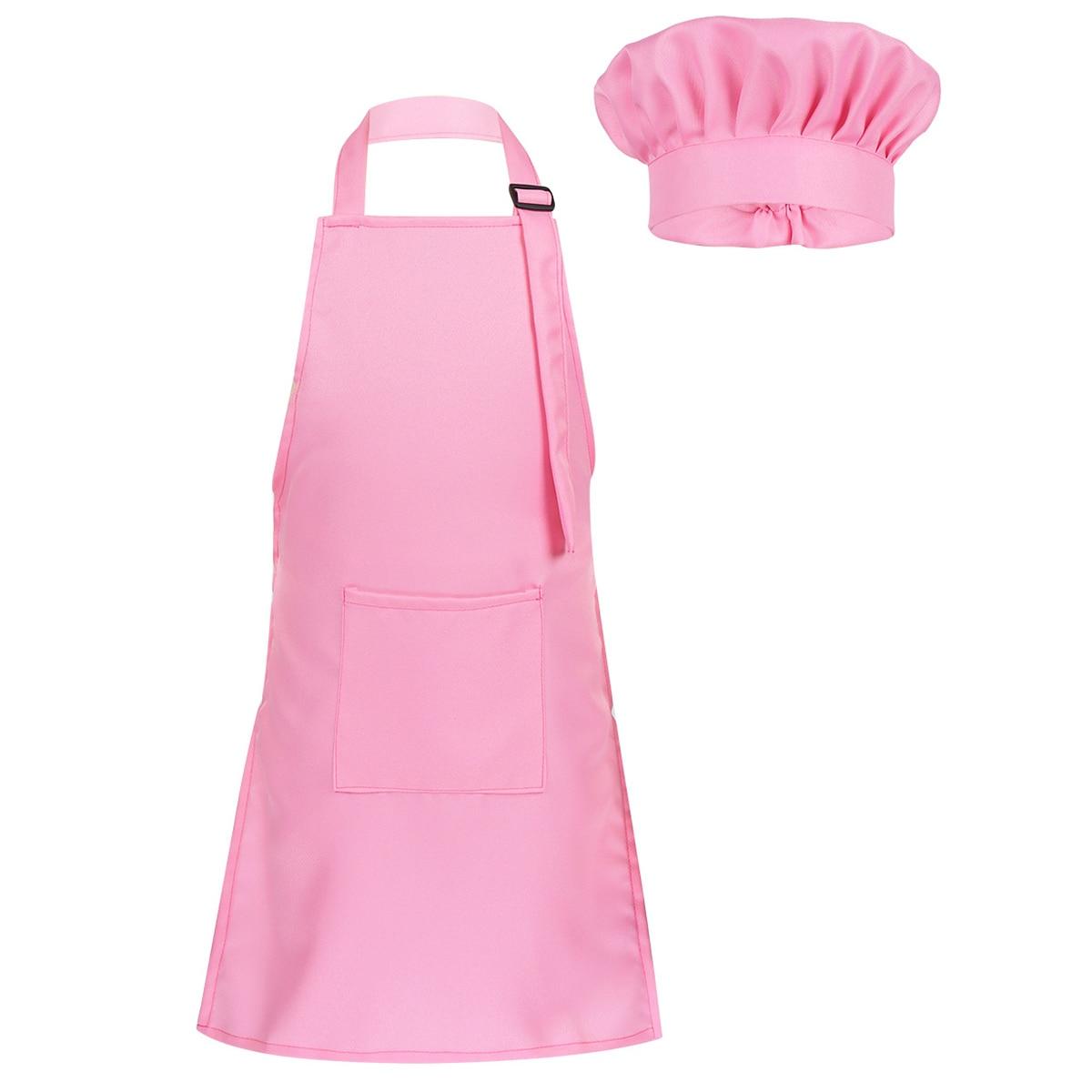 Child Kids Adjustable Apron and Chef Hat Set Kitchen Cooking Uniform Baking Painting Training Wear Boys Girls Halloween Costume