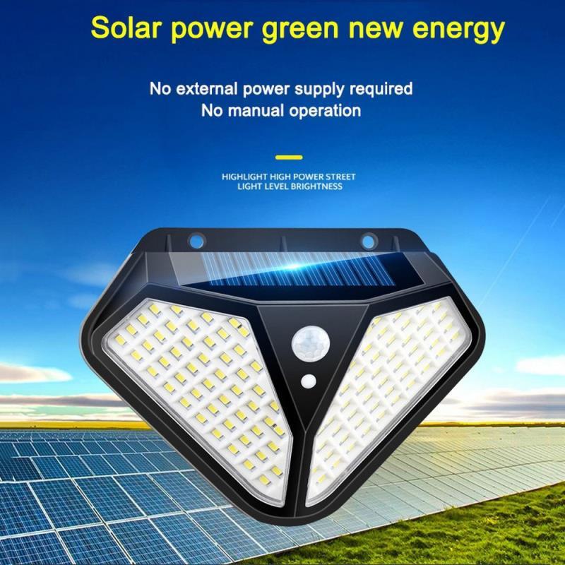 Luzes solares ao ar livre 102 led brilhante sensor de movimento luz grande angular sem fio à prova dwireless água ip65 luzes de parede para jardim parede rua
