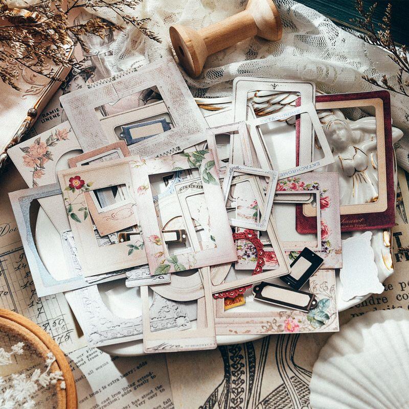 Kljuyp retro photo frame vellum papel adesivos para scrapbooking projetos diy/álbum de fotos/cartão que faz artesanato
