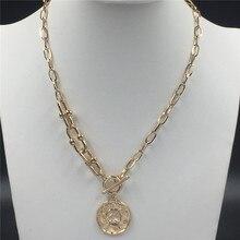 Neue Design Chic Gold Farbe Münze Mit Spezielle Kette T Bar O Bar gehäuse Halskette Für Frauen Mädchen Wunderschöne