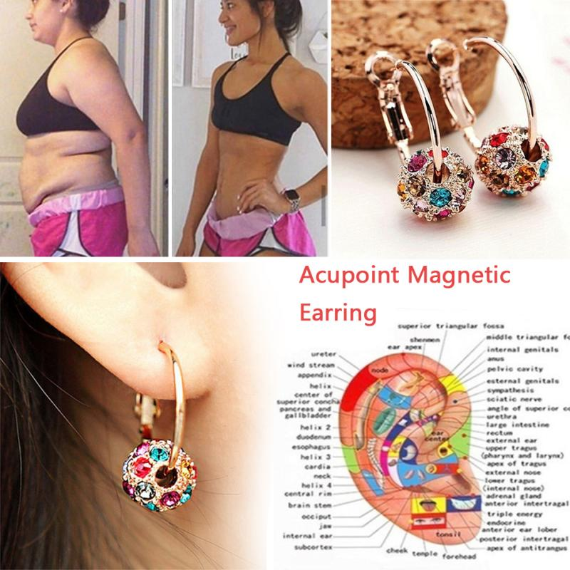 1 Pair Magnetic Slimming Earrings Lose Weight Body Relaxation Massage Slim Ear Studs Patch Health Jewelry Girls Women Best Gift
