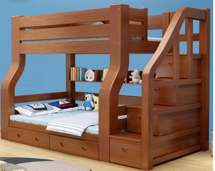 سرير بطابقين من الخشب الصلب ، متعدد الوظائف ، سرير مزدوج للأم ، سرير خشبي للأطفال