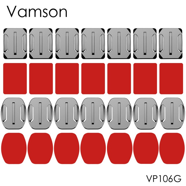 Accesorios de vamson montaje 8 Uds superficie plana curva montaje adhesivo para Gopro Hero8 7 6 5 para Xiaomi para yi para cámara SJCAM VP106