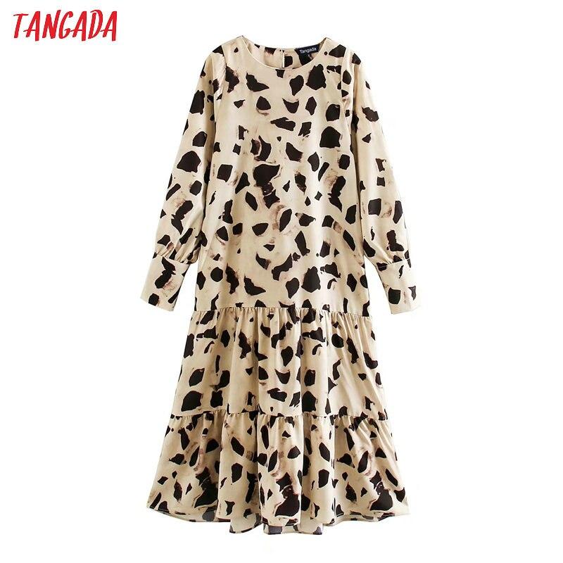 Tangada moda mujer vestido de gasa estampado cuello redondo manga larga señoras suelta vestido midi Vestidos XN212