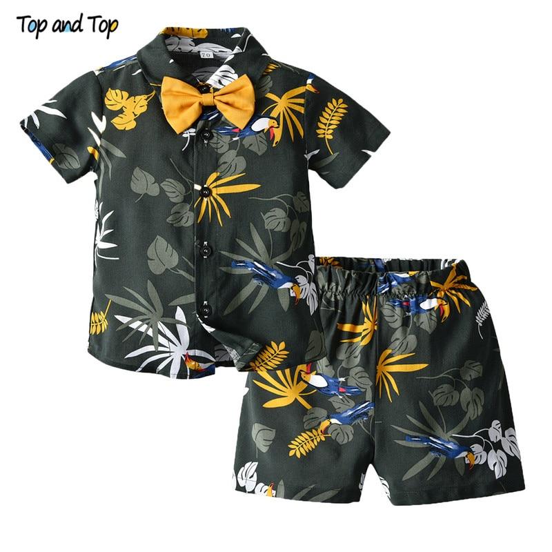 Partes de arriba de marca, nuevo conjunto de ropa de verano para chico, camisetas de manga corta + Pantalones cortos, conjunto informal para chicos, ropa de playa de Estilo Hawaiano