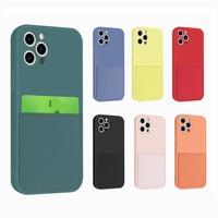 Чехол-бумажник для iphone 6 6s 7 8 Plus X Xs Max XR, жидкий силиконовый чехол для iphone 12 11 Pro Max Mini с держателем для карт, чехол
