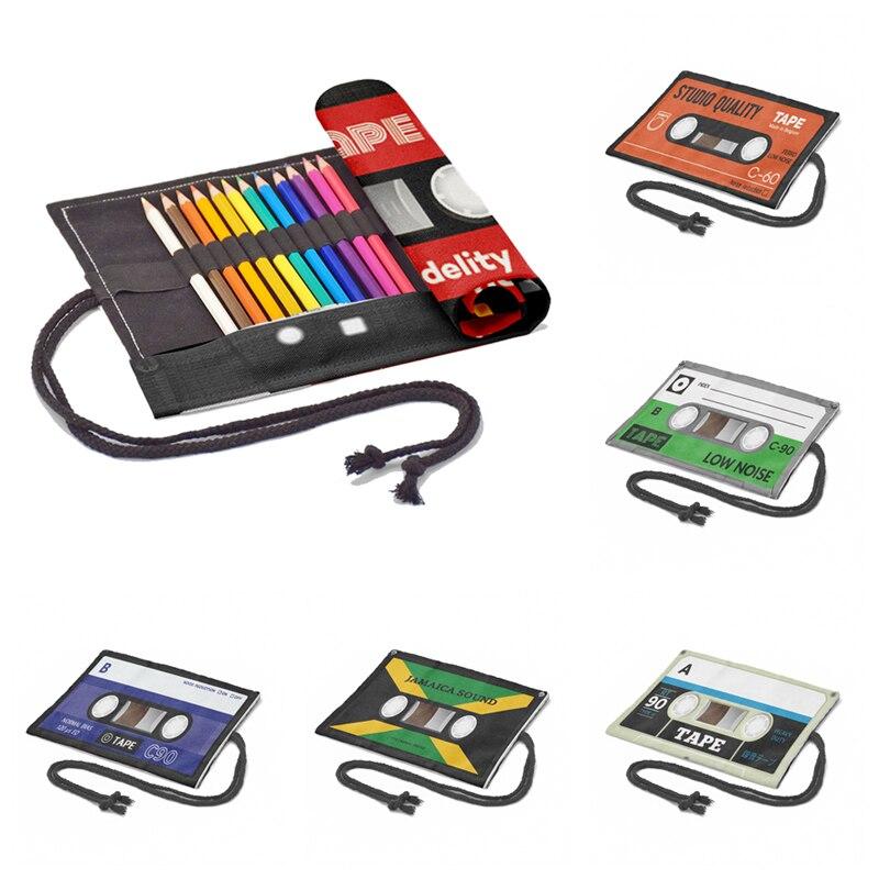 3D Retro Tape Printed Roll Pencil Case Unisex Fashion Funny Student Canvas Storage Bag School Suppli