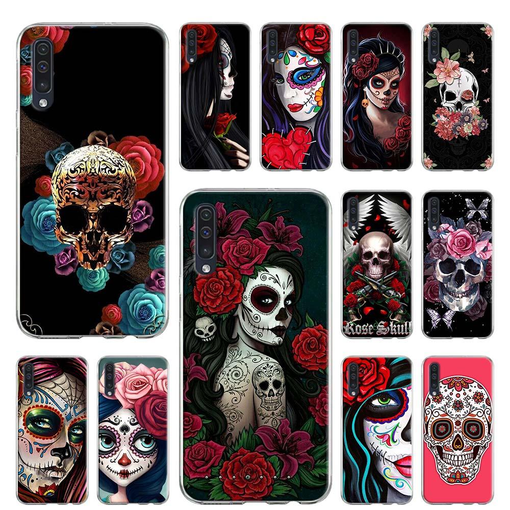 Мягкий чехол для Samsung Galaxy A10 A10e A20 A30 A30S A40 A50 A70 A60 A80 A6 A7 A8 A9 TPU чехол Catrina красивая Роза девушка череп A