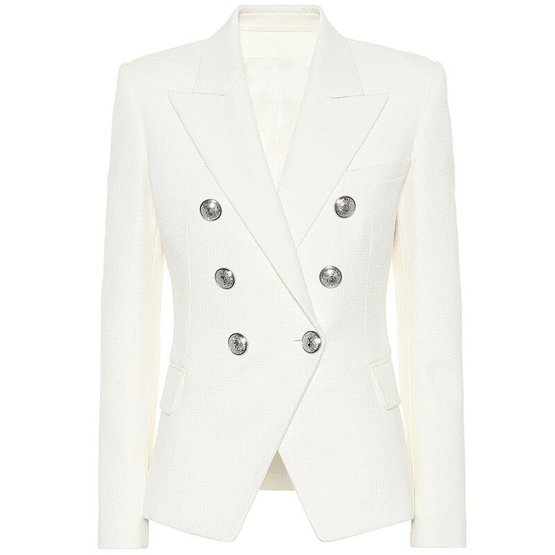 2021 Classic Designer Blazer Women's Double Breasted Metal Lion Silver Buttons Pique Blazer Jacket