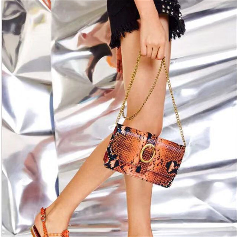 2019 new fashion snake pattern ladies messenger bag small lady shoulder mobile phone mini wallet and handbag
