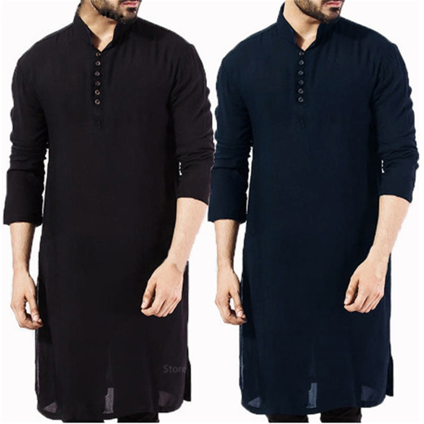 Islamic Clothing for Muslim Fashion Man Long Robes Solid Long Sleeve Arabic Arab Simple Casual Mens Shirt Jubba Thobe