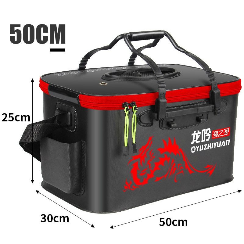 40cm/45cm/50cm Foldable Fishing Bucket Insulated Large Thicken Live Fishing Box Fish Cooler Bag Fishing Tank Pesca Equipment