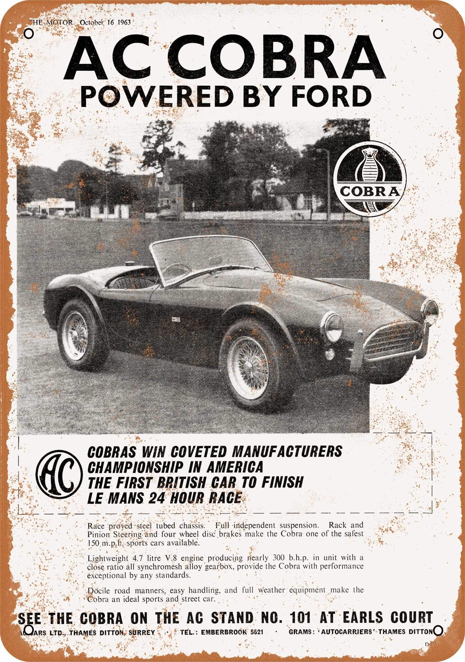 Lata de Metal signo 1964 AC Cobra alimentado por Ford pared Vintage...