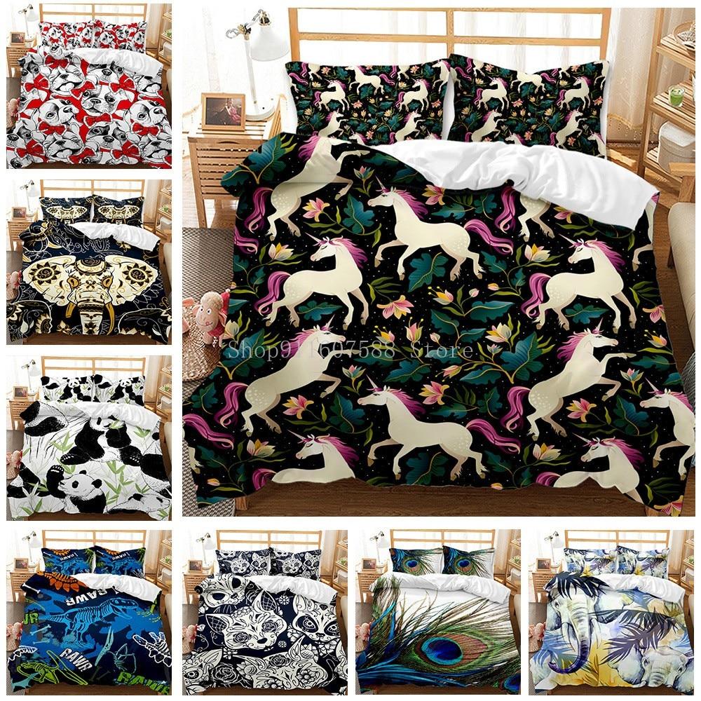 الكرتون يونيكورن طقم سرير الحيوانات الباندا حاف الغطاء مع المخدة لحاف يغطي كامل الحجم 2/3 قطعة المفارش المنسوجات المنزلية