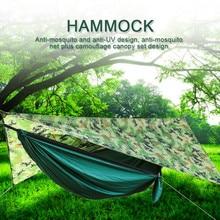 Rede mosquiteira de acampamento conjunto toldo rede automática aberta guarda-sol à prova dwaterproof água ao ar livre recreação acampamento survival hammock