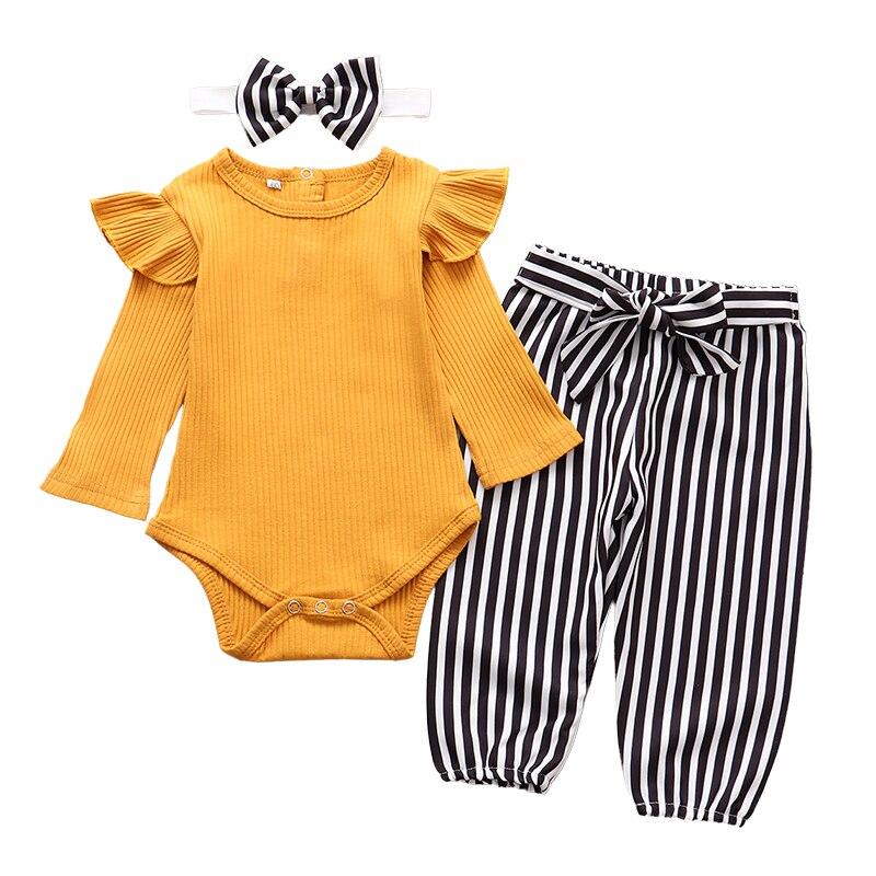Conjunto de ropa para niña recién nacida, moda Otoño, manga larga, mono de Color sólido, Tops, pantalones de rayas, diadema, ropa infantil, atuendos