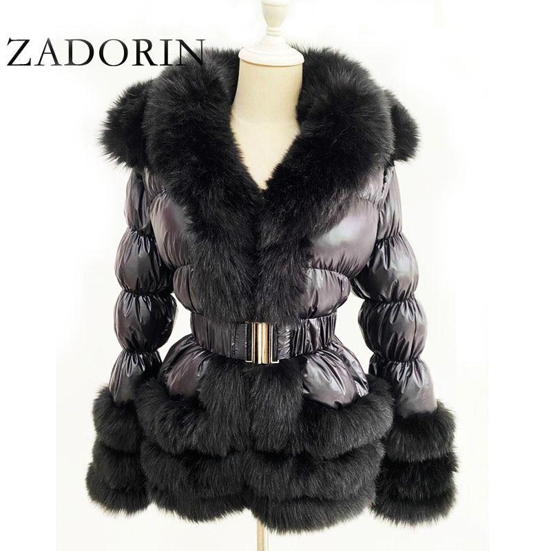 ZADORIN 2021 Winter Warm Detachable Down Jacket Women Furry FAUX Fur Collar White Duck Down Jacket Winter Down Coat With Hooded