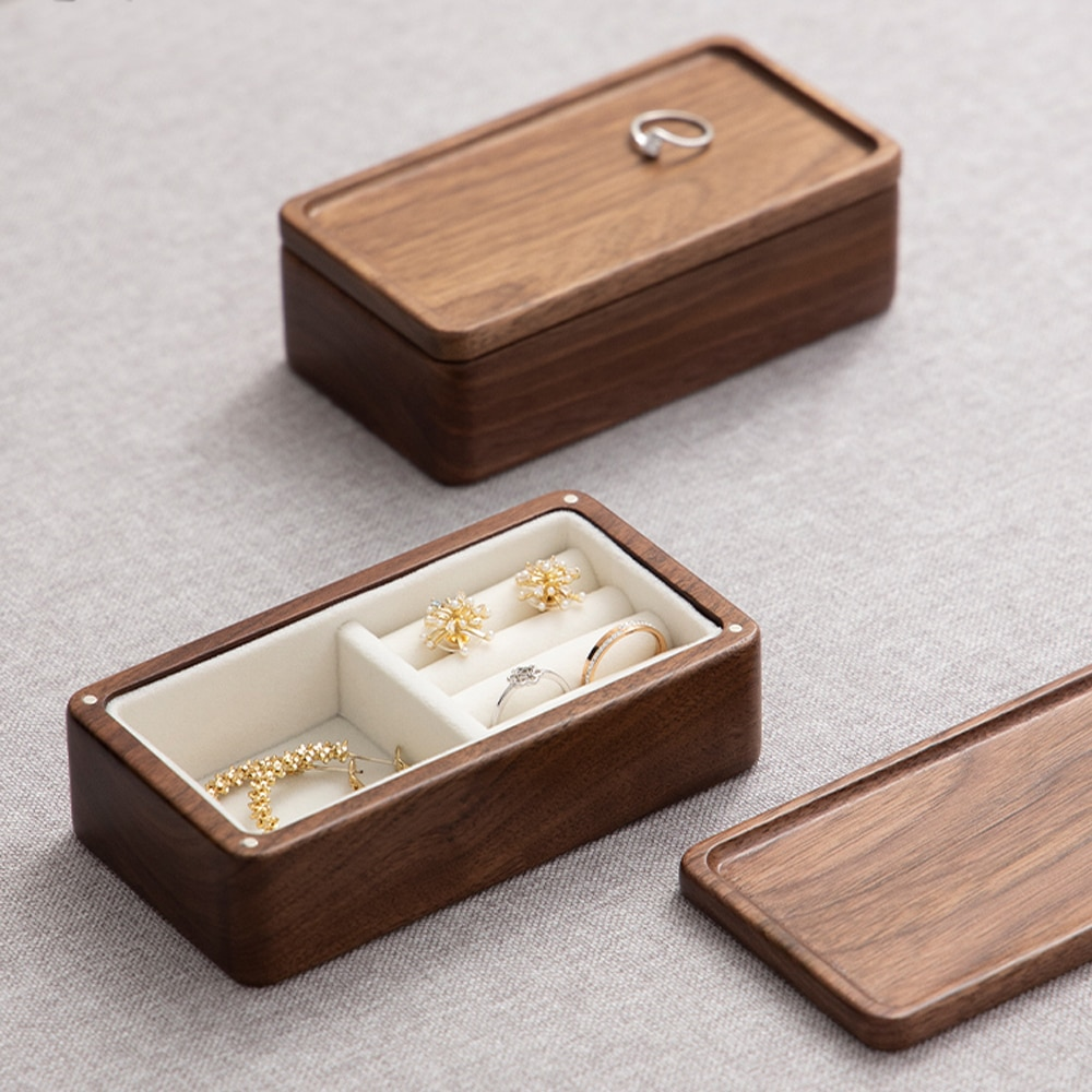 Jewelry Storage Box Small Exquisite Earrings Earrings Ring Jewelry Portable Lightweight High-Grade Solid Wood