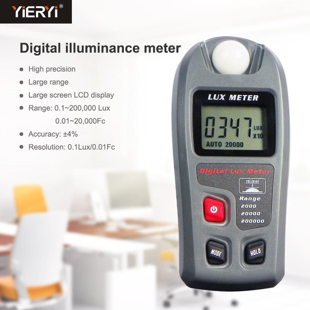 Yieryi MT-30 Luxmeter Digital 0-200.000 pantalla LCD medidor de luz prueba ambiental illuminómetro Sensor gran fotómetro