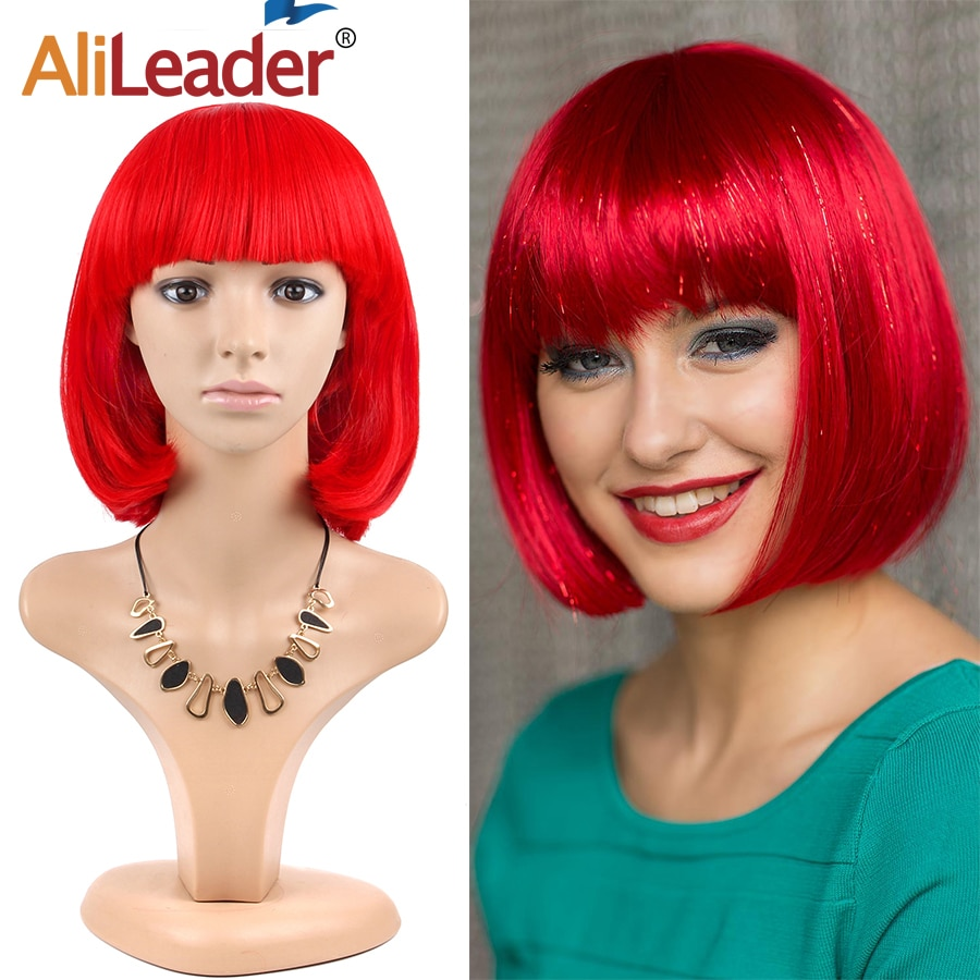 Alileader Short Bob Platinum Blonde Wigs With Nautral Highlights Cosplay Synthetic Wigs Women Heat Resistant Middle Part Wigs