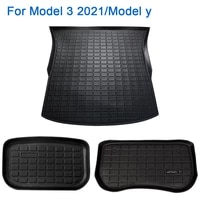 leepee car front rear trunk storage mat interior accessories tpe protective pad waterproof for tesla model 3 2021 model y