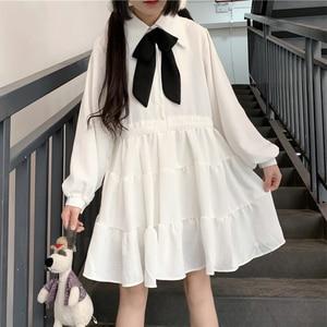 Japanese kawaii clothing sweet lolita dress Bow Lapel Lantern Sleeve Design Waist Hugging Lace-up Ruffles  Women Autumn