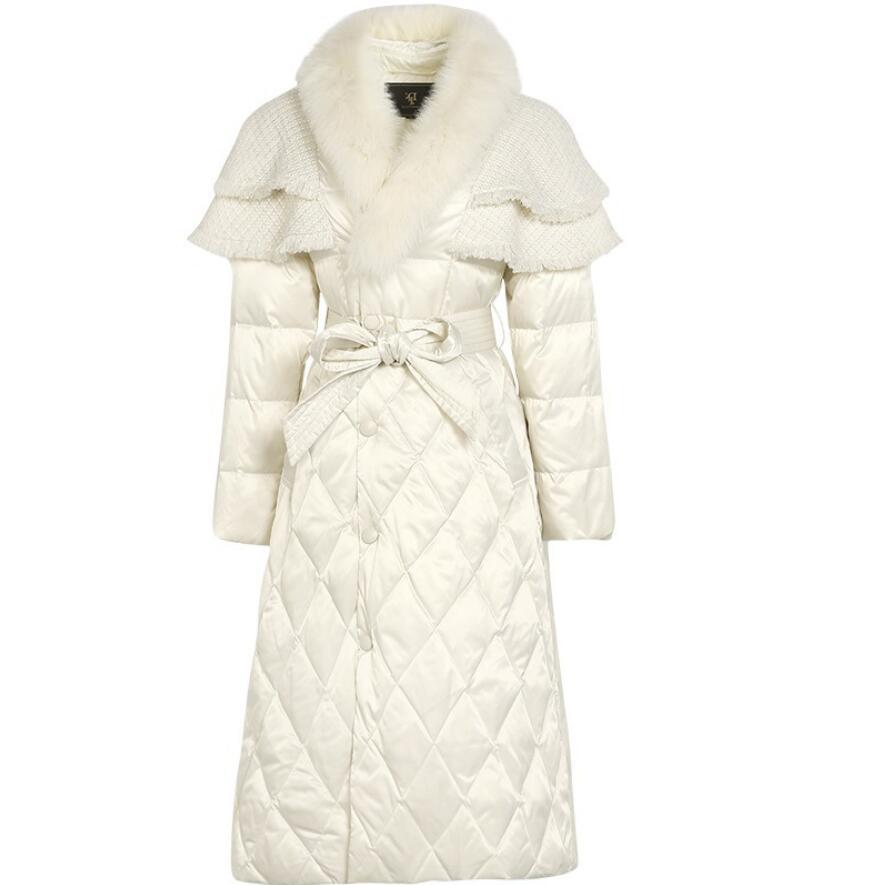 معطف نسائي بياقة من الفرو على الطراز الأوروبي, معطف نسائي شتوي دافئ طويل s541