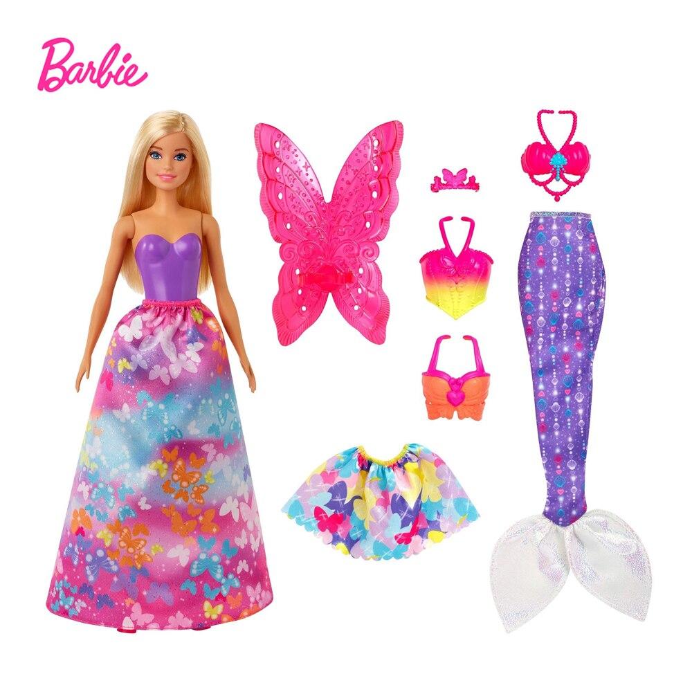 Conjunto de vestido de Barbie de Dreamtopia, accesorios de vestido de sirena,...