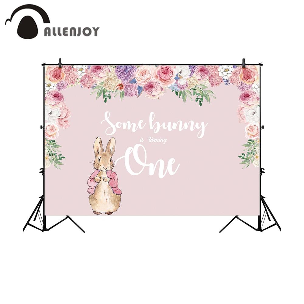 Allenjoy photophone décors 1st anniversaire lapin pâques printemps fleur rose fille lapin arrière-plans photographie photobooth
