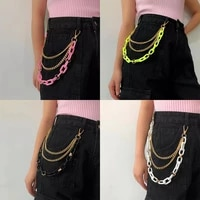 multilayer gothic punk street rock pants acrylic belt chain pantss pink green white black keychain female hip hop jewelry gift
