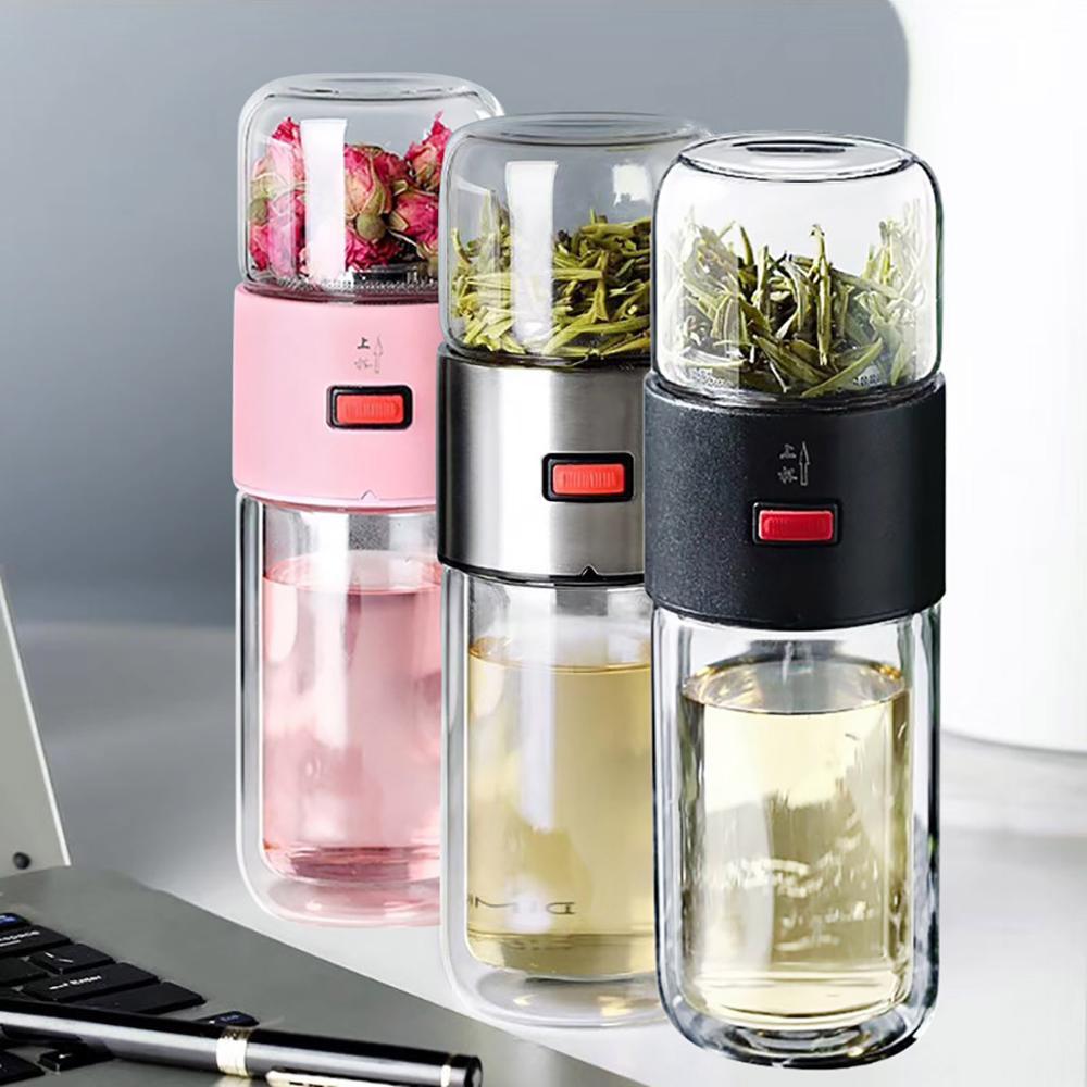Doble de vidrio tazas de agua botella de té de separación de agua hervidor de agua taza de бутылка для воды стекло #2S24