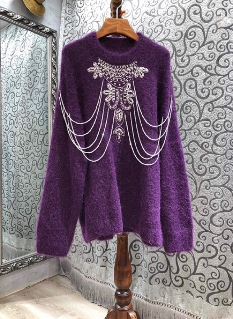 Tops Fashion New Sweaters 2020 Autumn Winter Pullovers Women Hand Made Beading Necklace Deco Knitted White Purple Grey Jumpers enlarge