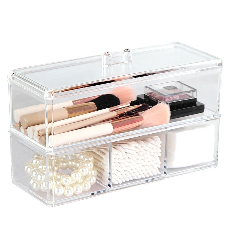 Новая прозрачная акриловая коробка для хранения косметики, держатель для кистей для макияжа, органайзер для макияжа ювелирных изделий, для офисных принадлежностей, пластиковые ящики для хранения