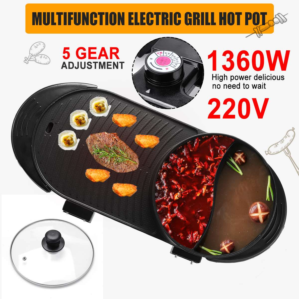 1360W Multifunction Electric Griddles 2in1 Electric Grill & Hot Pot Baking Flat Pan Hotpot Smokeless Grill BBQ Griddle Plate kitchen equipment smokeless energy saving stainless steel electric induction griddle machine electrical contact grill