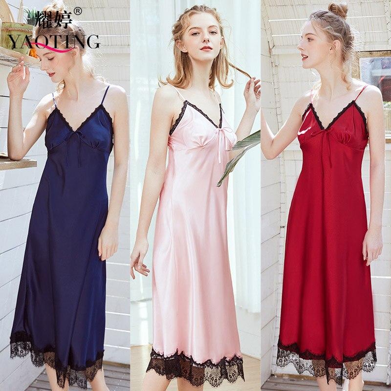 YAO TING-vestido de noche sexy para mujer, ropa de dormir, camisón de seda para mujer, vestido para el hogar, chica, verano, otoño, mod