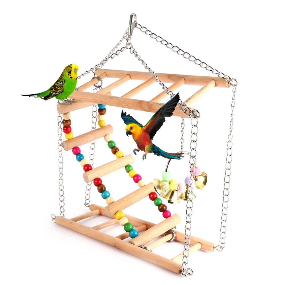 Brinquedo de Madeira Suprimentos para Animais Kimi Papagaio Pássaro Escada Suspensão Ponte Balanço Plataforma Dupla Estimação