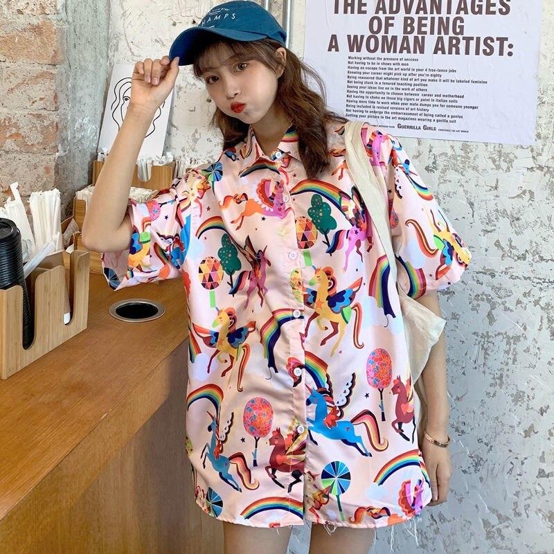 Ropa tiktok, blusa vintage de manga corta, camisas para mujer de talla grande, estilo occidental, ropa superior para mujer, ropa estampada para estudiante joven