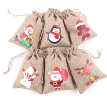 1PC Jute Christmas Bags Gift Drawstring Pouch Cotton Linen Packaging Bags For Jewelry Candy Storage