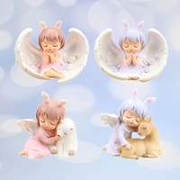 angle girls with wing resin crafts micro landscape ornament miniature girl prayer figurines doll house ornament children gift