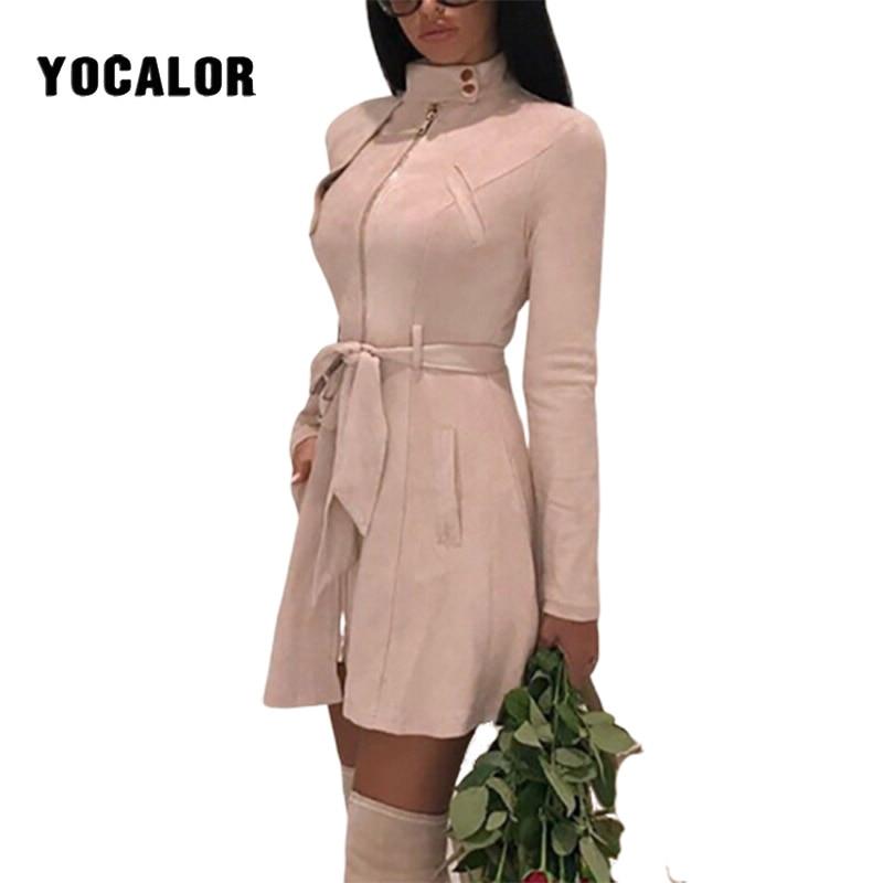 2020 Solid Color Bodycon Short Skater Suede Slim Collar Safari Shift Dress Women Summer Sundress Clothes Vintage Dresses Female