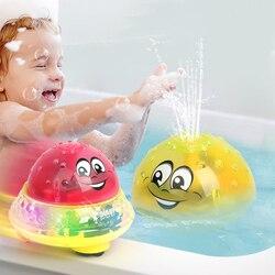 Brinquedos de banho spray água luz girar com chuveiro piscina crianças brinquedo para bebê criança natação festa banheiro luz led brinquedos