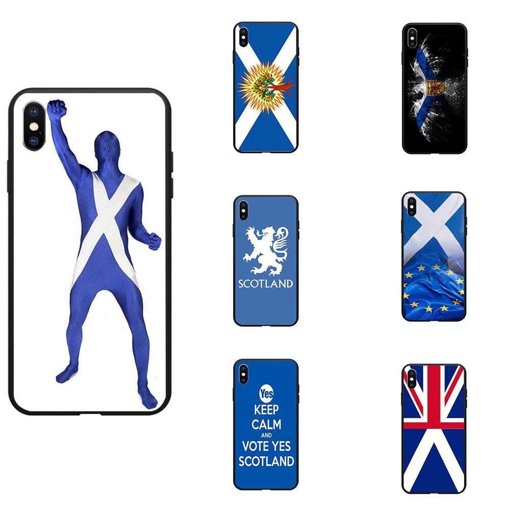 Scotland Flag UK EU Theme Soft TPU Phone Cases Cover Image Logo For iPhone 6 7 8 S XR X Plus 11 Pro Max