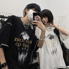 2021 Summer New Korean Style Ins Vintage Letter Print Loose Open Line All-Match Short Sleeve T-shirt