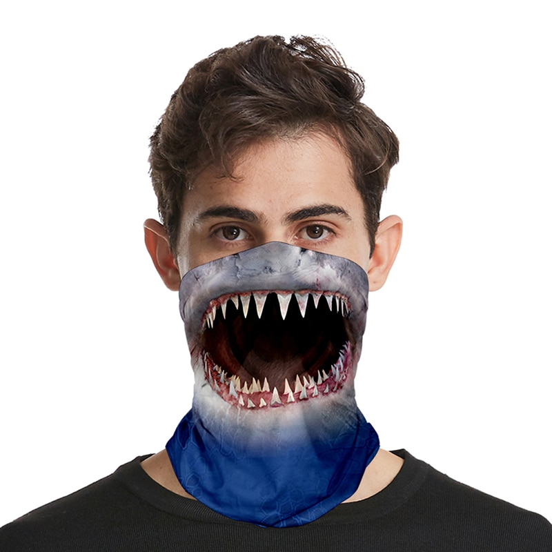 Mode Großen Mund Shark Gedruckt 3D Nahtlose Gesicht Maske Motorrad Headwear Magie Schal Außen Radfahren Angeln Ski Wandern Bandanas