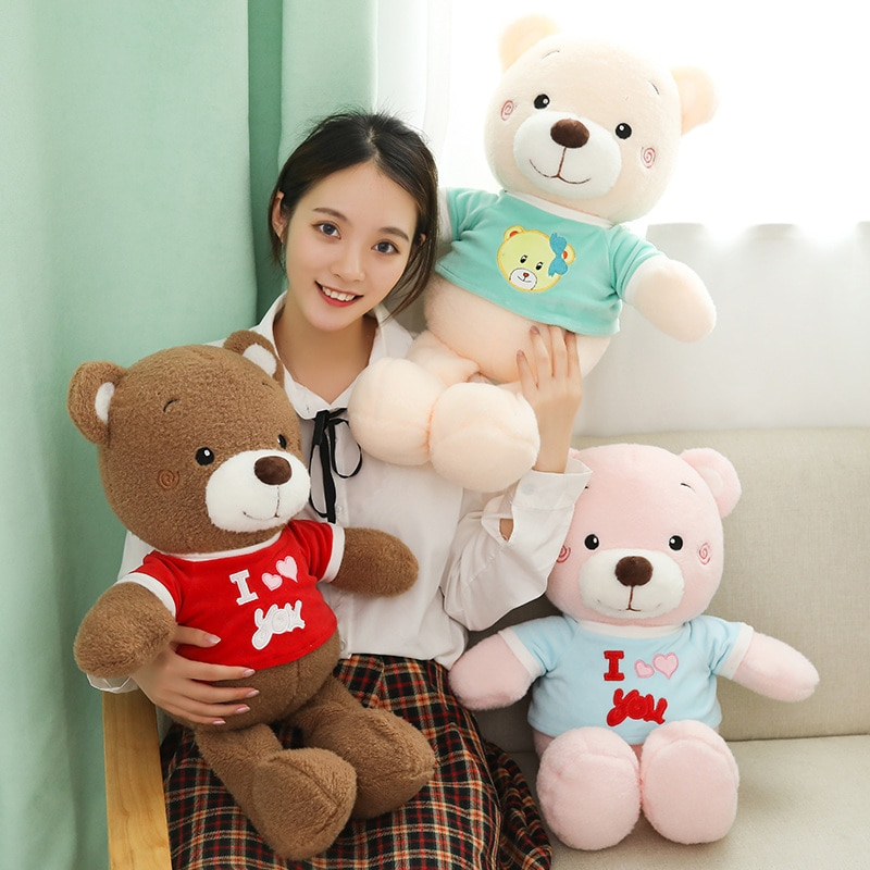 60cm Fluffy Lovely T-shit Teddy Bear Plush Toy Soft Cartoon Animal Three Colors Bear Stuffed Doll Lovers Valentine's Day Present