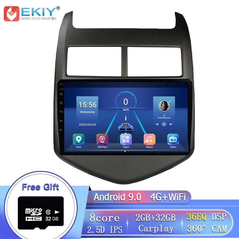"""EKIY 8Core 4G LTE 9 """"IPS DSP Android 9,0 para Chevrolet Aveo 2 2011-2015 la Radio del coche reproductor Multimedia GPS navegador estéreo DVD HU"""