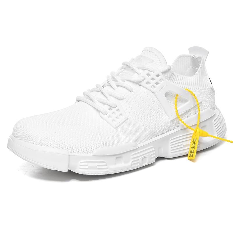 ¡Novedad de 2020! Mocasines informales a la moda para hombre, zapatillas deportivas para correr, zapatillas blancas para hombre, zapatillas de punto con velocidad, originales y cómodas