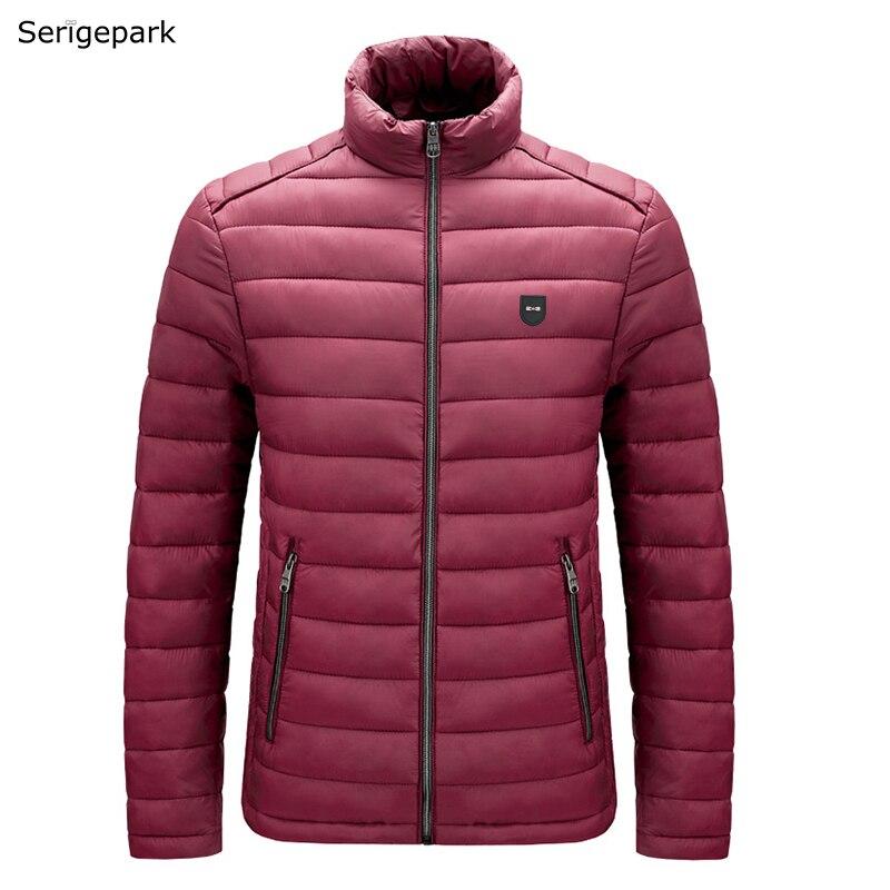 Куртка мужская без капюшона, однотонная, теплая, Зимняя коллекция