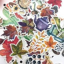 49 pièces main dessin automne feuille autocollant planificateur Scrapbooking bricolage feuilles mignon autocollants balle journal papeterie